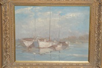 boats at anchor by montague webb