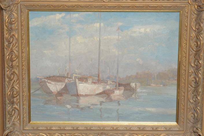boats at anchor by montague webb
