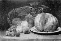 stilleben mit melone und pfirsischen by arsène symphorien sauvage
