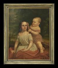 portrait of two siblings in a landscape by american school-southern (19)