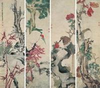 bird and flower (4 works) by ren qi