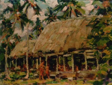 the fale hut of chief tugaga safune village savaii island samo by john william bentley