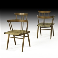 custom grass seated chairs (pair) by mira nakashima-yarnall