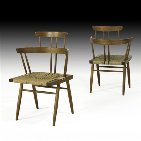 custom grass seated chairs pair by mira nakashima yarnall