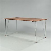 a rectangular table with chromed steel legs by arne jacobsen