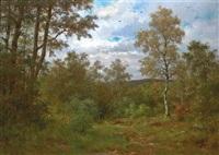 landschaft mit jäger. spätsommerliche waldlichtung im taunus by johann adolf hoeffler