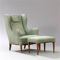 wingback chair with stool (set of 2) by frits henningsen