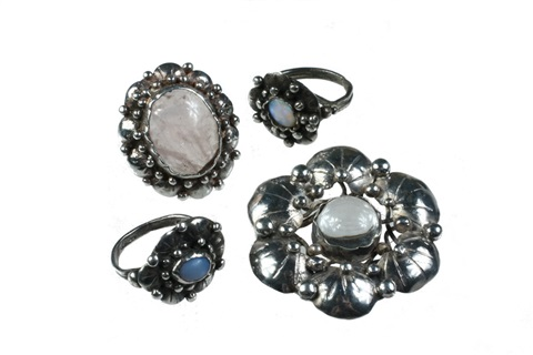 brooch rings set of 4 by mary gage