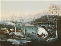 winter scene with stylish couple in a horse-drawn sleigh by american school (19)