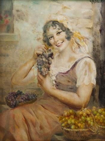 ragazza con uva by giuseppe maldarelli