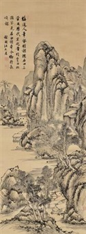 仿石田笔意图 (landscape after the shen zhou-style) by jiang jiapu