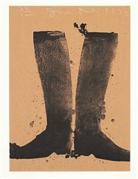 silhouette black boots on brown paper by jim dine