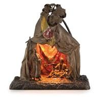 an art nouveau cold painted bronze 'bedouin tent' lamp by franz bergman