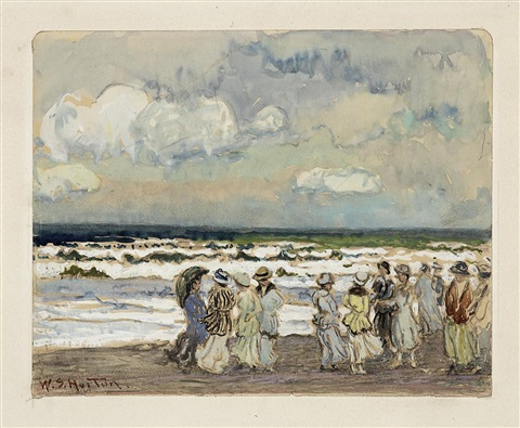 gesellschaft am strand by william samuel horton