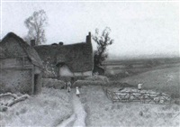 cottage near leather head by albert haselgrave