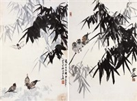 竹雀 (两帧) (2 works) by luo ming