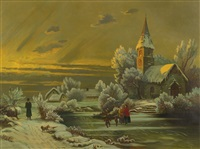 winter scene with church by american school (19)