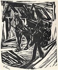 bauer beim führen eines pferdegespanns (+ 2 others; 3 works) by julo levin