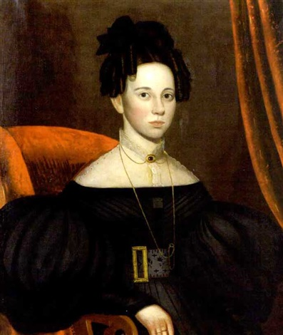 portrait of a young woman in lace collared black dress with elaborate jewelry seated on red chair with scroll arms by john sherburne blunt