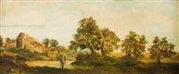 sommerliche flusslandschaft mit früchte tragenden obstbäumen und einem obstbauern am ufer by jean françois millet
