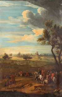 a military commander, generals and other officers, observing a battle from a hillside and a fortified city beyond by adam frans van der meulen
