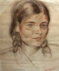 portrait of fairoz, the artist's daughter, head and shoulders turned to the right (+ untitled (young man), pen and ink; 2 works) by 'abd al-hadi el-gazzar