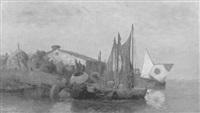 fischerboote am abendlichen seeufer (bodensee?) by fritz kolloff