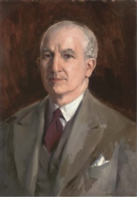 portrait of a gentleman, bust-length, in a brown suit by sydney adamson