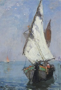 fischerboot bei triest by august lemmer
