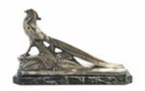 pheasant, raised on a naturalistic fern and rocky base by maurice frecourt