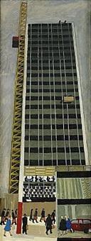 höghus och portföljbärare - motiv från hötorgsskraporna, stockholm by sven ljungberg