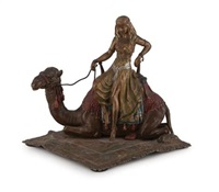 a cold-painted bronze figurine of a princess on a camel by franz bergman