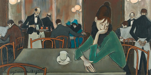 cafészene mit junger dame by simon simon auguste