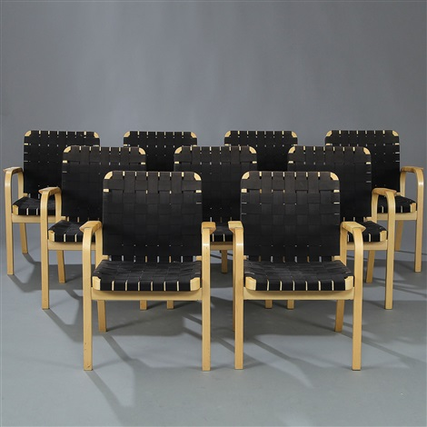 armchairs model 45 set of 9 by alvar aalto