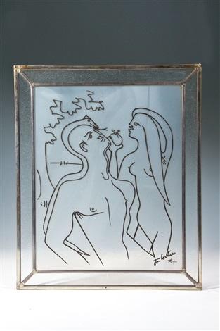 glasbild adam und eva by jean cocteau