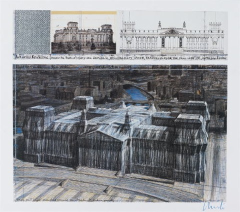 wrapped reichstag les affiches dart by christo and jeanne claude