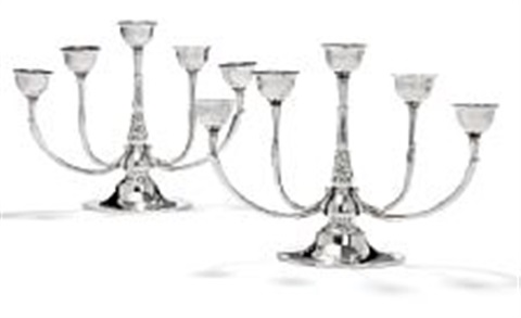 harald nielsen a pair of five branch sterling silver candelabras 2