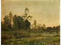 blühende wiesenlandschaft mit jungen bäumen sowie einem waldrand im hintergrund, im zentrum ein wanderer by charles warland