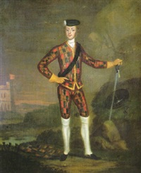 a harlequin portrait of prince charles edward stuart, a lanscape beyond by scottish school (18)