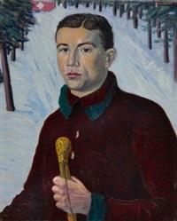 schweizer skiläufer (selbstporträt) by jean lehmann