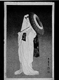 a woman in a white kimono dancing with a parasol by shunkyo yamamoto