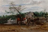 brasilianische landschaft; zwei reiter mit maultier und pferd an einem brunnen mit wäscherinnen by domenico de angelis