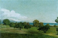 landschaft am genfersee an einem sonnigen nachmittag by horace de saussure