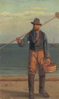 fisker ved stranden by hans christian koefoed