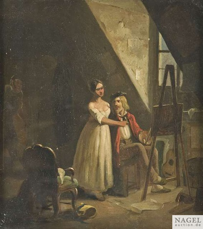 belauschtes liebespaar by carl spitzweg