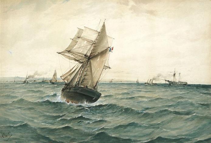 marine einfahrende dampfer und segler vor einer französischen hafenstadt by gustaf albert
