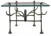table basse trapezoidale, modèle aux hiboux et aux grenouilles by diego giacometti
