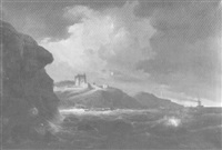 küstenlandschaft mit dampfschiff und segelbooten by johann baptist weiss