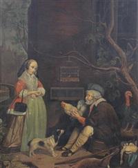 lady in farmyard by richard brakenburg