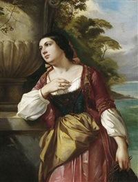porträt einer jungen italienerin vor landschaftshintergrund by j. albuzzi